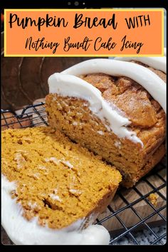 Pumpkin Bread with Nothing Bundt Cake Copycat Icing - House of Faucis Nothing Bundt Cakes, Delicious Desserts, Yummy Food, Icing Ingredients, Eating Alone, Rich Recipe, Pumpkin Bread, Other Recipes, Copycat