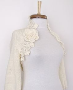 Iris Ivory COTTON Bridal Shrug3/4 Long Sleeve by knittingshop, $73.00