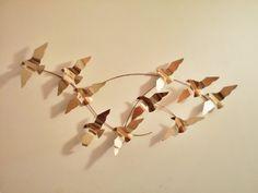 Brass Flying Birds Wall Art by modpodlove on Etsy Bird Wall Art, Flying Birds, Kitchen Wall Art, Hanging Art, Vintage Items, Brass, Unique Jewelry, Handmade Gifts, Etsy