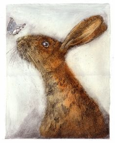 Close Encounter . Drypoint. The atmosphere of this etching is a lot more cheerful, the gracefulness of the butterfly against the harsh orange hare is really good contrast.