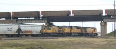 Grand Island, NE : Over/Under A Burlington Northern train passes above a Union Pacific, just east of downtown