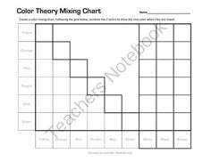 Color Theory Mixing Chart Worksheet from CreateArtwithME on TeachersNotebook.com -  (3 pages)  - Color Theory Mixing Chart- Can be used with watercolor, tempera or acrylic paints.