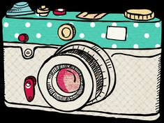 Camera Png, Camera Clip Art, Camera Drawing, Camera Doodle, Banners, Videos Kawaii, Camera Illustration, Tumblr Png, Chibi Girl