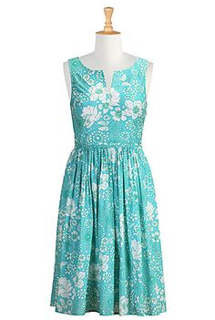 I <3 this Flat floral print notch neck dress from eShakti  -  aqua, white, blue/green, cotton, print.       lj