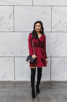 Red Ruffle Dress with over the knee boots and Chanel bag