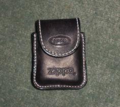 Vintage Black Leather ZIPPO Lighter Pouch Case w/Belt Loop On Backside, GUC!