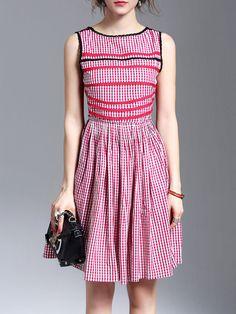#AdoreWe StyleWe Midi Dresses - QinPei.er Red Paneled Casual Cotton Midi Dress - AdoreWe.com