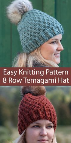 Easy Knitting Pattern for 8 Row Temagami Hat - Easy toque hat knit with a simple 8 row repeat cable like texture without having to cable 3 sizes Rated easy by Ravelrers Quick knit in super bulky weight yarn Designed by The Knitty Pine Knit Hat Pattern Easy, Beanie Knitting Patterns Free, Free Knitting, Easy Knit Hat, Knitted Headband, Knitted Hats, Crochet Hats, Knit Crochet, Cable Knit Hat