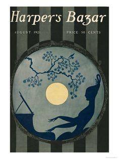 Erté's cover design for the August 1921 issue of Harper's Bazaar (then 'Bazar') Vintage Prints, Vintage Posters, Vintage Art, Vintage Paper, Retro Art, Art Deco Illustration, Magazine Illustration, Art Illustrations, Fashion Illustrations