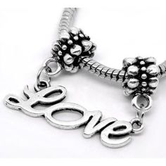 3711293e2 Believe Beads © 1 x Antique Silver Plated Dangle Love Charm Bead will fit  Pandora/Troll/Chamilia Style Charm Bracelets