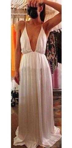 White Deep V Plunging Neck Spaghetti Strap with Slit Leg and Open Back Prom Cocktail Maxi Party Evening Dress