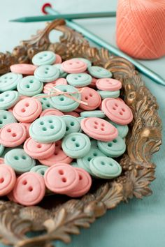 Vanilla Button Cookie recipe.  Use all pink coloring for a baby girl shower.