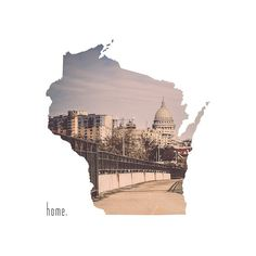 Wisconsin Home Photograph | State Outline | Madison | State Capitol | Home Decor | Dorm Decor | Roots | Affordable Art