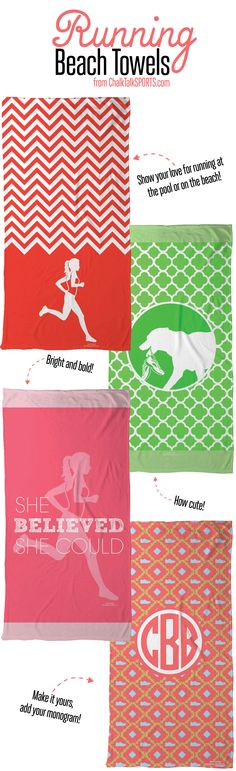 1820db3d49 Run to the beach or pool with awesome personalized running beach towels  from ChalkTalkSPORTS.com