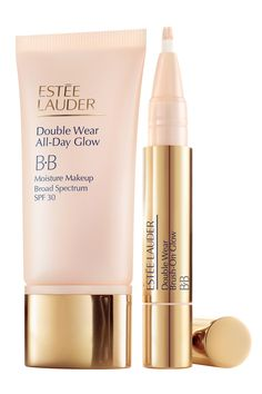 Protect skin while erasing fine lines and uneven skin tone with Estee Lauder Double Wear All Day Glow BB, $38, esteelauder.com, as well as Estee Lauder Double Wear Brush On Glow BB Highlighter, $27.50, esteelauder.com, a concealer for around the eyes or specific imperfections, as well as to highlight the brow bone.    - HarpersBAZAAR.com