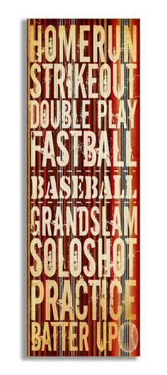 The Kids Room Home Run' Baseball Typography Wall Plaque