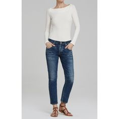 The @ctznsofhumanity  mid-rise Elsa jeans have a tomboy feel. They're crafted from our signature stretch denim but also fitted, so that they're flattering in a casual way. They fall to just above the ankle and the medium blue denim is faded and whiskered for a lightly lived-in look. Wear with those summer tops that need something other than skinny jeans.  #modeyourway #summerstyle #citizensofhumanity #elsa #cropjeans #denim