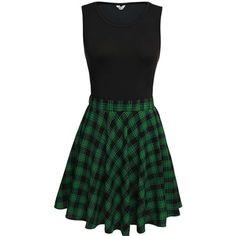 Bluetime Women's Vintage Retro Sleeveless Plaid Patchwork Fit and... ($23) ❤ liked on Polyvore featuring dresses, retro dresses, plaid dress, no sleeve dress, vintage sleeveless dress and tartan plaid dress