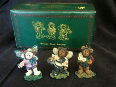 Set of 3 Figurines Boyds Bears Flutter Dot Buzzie QVC Exclusive Edition Of 2500