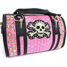 """Super Cute Skull Bag Full of Shiny Rhinestones! All Heads Will Turn When You Tote This Around Town! Here Are the Details:  Approximate Size 13""""(L) x8.5""""(H)7""""(W) Double Handle Strap Make Easy To Carry Zip Closure Top Side Zipper Pocket Two pouch pockets Inside It comes With One Long Strap Nice Metal SKULL HEAD RHINESTONE On Front  Order One Today - Your Friends Will Envy You! Tell Them Where You Find Such Cool Items!"""