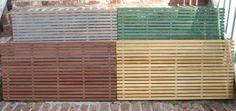 Wooden door mats in diff colors. Love!
