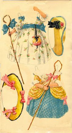 Little Bo Peep outfits, Antique paper dolls and paper toys to make - Joyce hamillrawcliffe - Picasa Web Albums Paper Art, Paper Crafts, Little Bo Peep, Bobe, National Art, Mother Goose, Clip Art, Vintage Paper Dolls, Paper Toys