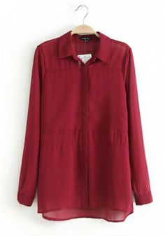 Red wine Chiffon Constrast Lapel Long Sleeve Button Fly Plain Tops