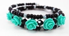 Mint Wrap Bracelet - Green and Black Girl's Beaded Memory Wire Teen's Bracelets - Jewelry Gifts for Girls or Teens