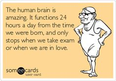 The human brain is amazing. It functions 24 hours a day from the time we were born, and only stops when we take exam or when we are in love.