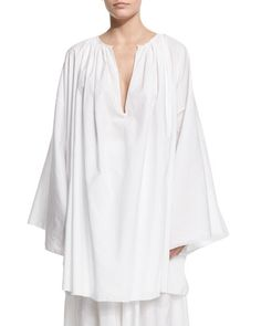 W0BBQ THE ROW Melody Wide-Sleeve Ruched-Neck Blouse, White