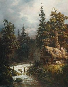 Andrey Shishkin ~ The Old Water Mill~ Landscape Art, Landscape Paintings, Watercolor Paintings, Fantasy Places, Fantasy Art, Art Thomas, Russian Painting, Great Paintings, Cool Landscapes