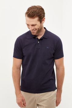 Cortefiel Cotton polo Blue