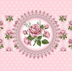 Fleurs roses façon camée