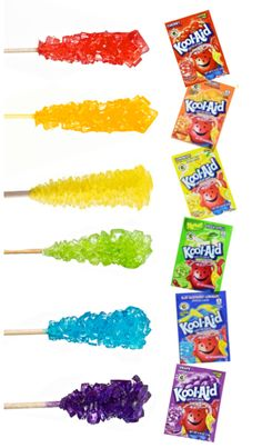 Make your own rock candy using kool-aid! My kids loved this edible science experiment! Rock Candy Experiment, Candy Experiments, Science Experiments Kids, Science For Kids, Science Crafts, Food Science, Science Projects, Kool Aid, Fun Crafts For Kids
