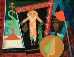 Veve Voudou III (1963). Painting by Lois Mailou Jones. Lois Mailou Jones came to fame as a painter during the latter stages of the Harlem Renaissance in the 1930s. In addition to being a painter with many diverse styles, she was a talented textile designer and did a number of book and magazine covers. There's a wonderful website filled with rich imagery and details about her life: http://www.loismailoujones.com/.