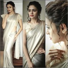This vintage look is complete with the ruffled sleeves, tipped eyes, messy hair up and this star studded earcuff worn by for a… Trendy Sarees, Fancy Sarees, Ethnic Fashion, Indian Fashion, Women's Fashion, Drape Sarees, Modern Saree, Satin Saree, Elegant Saree