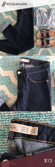 Zara Jeans!! They have a flaw. Priced to sell. I only wore these jeans a handful of times. The only flaw is I accidentally cut them while cutting something else. Ugh!! Smh!! Haha my lose your win.. i rolled them up to cover it up. Zara Jeans