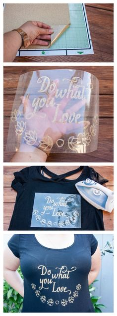 This is such a great way to update a shirt and create an inspirational message. Love that gold heat transfer vinyl!