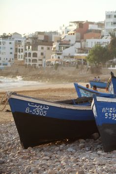 Boats on a beach in Taghazout. We lived a stone's throw away from this spot. Beach Travel, Lessons Learned, Morocco, Boats, Explore, Water, Food, Water Water, Boating
