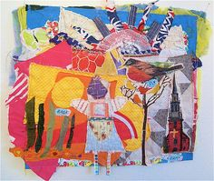 BASK FLY PRAY Primitive Fabric Folk Art Collage  Vintage Crazy Quilt Patchwork   My Bonny