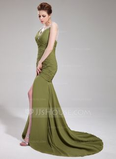 Trumpet/Mermaid Sweetheart Court Train Chiffon Tulle Evening Dress With Ruffle Beading Sequins (017019469)
