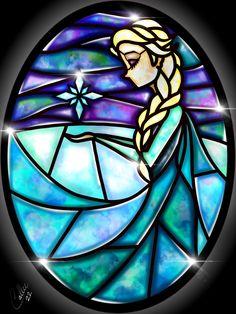 Stained Glass Elsa by CallieClara.deviantart.com on @DeviantArt