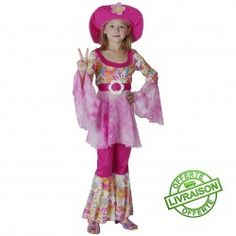 Déguiement Hippie Fille Rose - Taille 7-10 Ans - Costume Complet