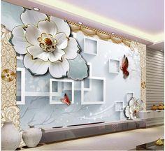 3D block TV backdrop embossed flowers papel parede mural wallpaper Home Decoration 3d wallpaper flower