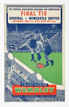 Perfect gift for him - 1952 FA Cup Final - Arsenal v Newcastle United - football programme - perfect birthday or christmas gift idea for him Football Final, Football Program, British Football, Retro Football, Newcastle United Football, Challenge Cup, Football Memorabilia, Fa Cup Final, Everton Fc