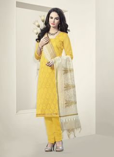 Yellow Churidar Suit Wholesale Collection With Embroidered Work