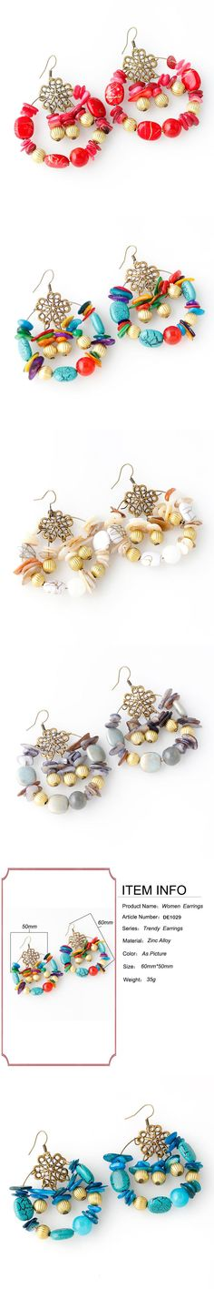 Ethnic Style Beautiful Handmade Beads Shell Dangle Drop Earrings for Women Fashion Stone Jewelry Accessories DE1029