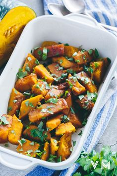 Vegan Braised Kabocha Squash with Ginger and Cilantro. Made Just Right. Plant Based. Earth Balance.