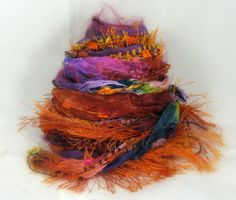 Autumn Sunset Elements 26yds, Fiber Art Yarn Embellishment Trim Specialty Ribbon Bundle, Orange Magenta Plum Teal Blue, Buy Any 6 Get 1 Free