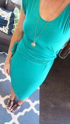 Turquoise Green Dress, Bronze, and Black Strappy Wedges - Outfit Blog Post